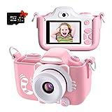 Kriogor Kinder Kamera, Digital Fotokamera Selfie und Videokamera mit 12 Megapixel/ Dual Lens/ 2 Inch Bildschirm/ 1080P HD/ 32G TF Karte, Geburtstagsgeschenk für Kinder (Rosa)