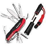 Schweizer Messer| Feuerstahl, Morpilot 15 in 1 Schweizer Taschenmesser| Swiss Knife| Multitool Messer und 4 in 1 Feuerstein, mit Schraubendreher, Schere, Säge, Compass