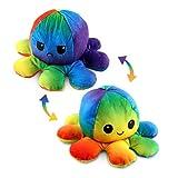 Esportic Oktopus Kuscheltier, Reversible Octopus Plüschtier, Doppelseitige Flip Kuscheltier Octopus, Kinder Reversible Oktupus StimmungsKuscheltier, Geburtstagsgeschenke für Jungen und Mädchen