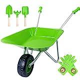 Hortem Kinder Schubkarre Set,5 STÜCKE Metallkonstruktion Kinderradlauf und Kindergartengeräte, Kinder Gartenhandschuh, Geschenke für Kinder (grün)