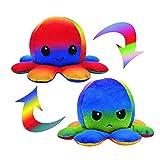 CJRNBU Oktupus Stimmungs Kuscheltier, Octopus Plüschtier, Reversible Octopus Tintenfisch für Frauen für Kinder und die Ihre Laune ausdrücken wollen Flip Plüsch Oktopus