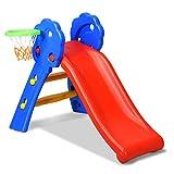 GOPLUS Kinderrutsche, Rutsche für Kinder, Gartenrutsche Bunt, Wellenrutsche mit Basketballkorb, Kleinkinderrutsche für Indoor und Outdoor, 108 x 68 x 71,5cm