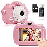 YUNKE Kinderkamera, 3,0-Zoll-HD-Touchscreen-Digitalkamera mit 30MP 1080P 32G Speicherkarten-Kartenleser für Kinder zum Neujahrsfest zum Geburtstag für Kinder im Alter von 2-10 Jahren (Rosa)