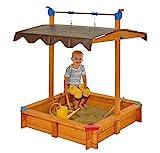 GASPO Sandkasten Felix | L 100 x B 100 x H 120 cm | Sandkiste aus Holz mit absenkbarem Dach | einfaches Bausatzsystem
