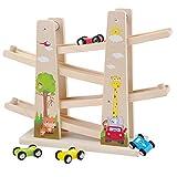 Baobë Kinder Kugelbahn Spielzeug Auto Rennbahn Holz Spielzeug mit 4 Fahrzeuge Auto Kinderspielzeug Geburtstaggeschenke ab 1 Jahr Jungen und Mädchen