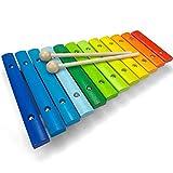 Spielzeug Xylophon fr Kinder aus Holz mit 12 Tnen - UNGESTIMMT - Wunderschnes Glockenspiel mit farbigen Klangplatten - Schult Motorik und begeistert frs Musizieren - Holzspielzeug von Lisa&Max