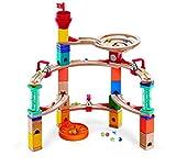 Hape E6019 - Aus der Burg entkommen, Quadrilla Kugelbahn, Konstruktionsspielzeug, mit Karussell und Glocken, 102 teilig, aus Holz, ab 4 Jahren, mehrfarbig