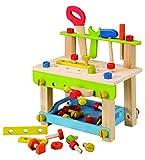 Kinder-Werkbank mit Werkzeug und Schrauben aus Holz (EverEarth)