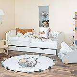 Alcube Kinderbett Jugendbett 80x160 cm Weiß mit Rausfallschutz Matratze Lattenrost und Schublade Kinderbetten als Set Bett für Jungen und Mädchen 160x80 cm