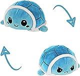 KUNSTIFY Schildkröte Kuscheltier Stimmungs Kuscheltier Wende Turtle Plüschtier für Mädchen Frauen Kinder um Laune auszudrücken Geschenk für Freundin Schildkröte Blau