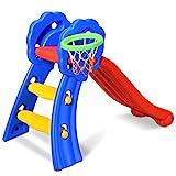 COSTWAY Kinder Rutsche mit Basketballkorb, Rutschbahn klappbar, Kinderrutsche, Gartenrutsche, Wellenrutsche, Kleinkinderrutsche für Indoor und Outdoor