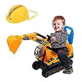 AYNEFY Bagger Kinder Spielzeug Sitzbagger mit Sitz und Helm Aufsitzbagger Robuster Schaufelbagger Raupenbagger Sandbagger Fahrzeug Geschenk für Kinder Junge Mädchen, Gelb Schwarz