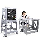 YOLEO 2 in 1 Lernturm Kinder Tritthocker mit Sicherheitsstange, klappbarer Lernstuhl, Kinderhocker mit magnetischer Tafel, rutschfestem Fußpolster, Kinderschemel für Küchen-/Badezimmerhelfer, Grau