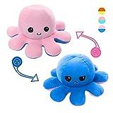 Octopus Plüschtier, Reversible Mood Emotion Stimmungs Kuscheltier Oktopus Spielzeug Weiche doppelseitige Flip Octupus Puppe Niedliche weiche Oktupus Kuscheltiere Puppengeschenke für Kinderliebhaber