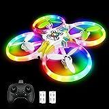 Drohne für Kinder Bunte LED-Lichter Leuchten Quadrocopter mit 5 Intelligente Sensor Dual Akku 18 Minuten RC Drone Helikopter Ferngesteuertes Flugzeug Spielzeug für Sohn Mädchen Weihnachten Geschenk