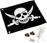 Fahne mit Hiss-System zur Anbringung an Spieltürmen, Klettertürmen, Stelzenhäusern oder Anderen Spielanlagen (Schwarz mit Piraten Motiv)