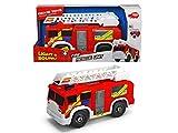 Dickie Toys Fire Rescue Unit, Feuerwehrauto, Spielzeugauto, Feuerwehr, bewegliche und ausfahrbare Leiter, Licht & Sound, inkl. Batterien, 30 cm gro, ab 3 Jahren