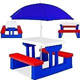 KESSER® Kindersitzgruppe mit Sonnenschirm Kindertisch Picknickset   Sitzgarnitur Tisch und Bänke   Sitzgruppe Kindermöbel Gartenmöbel für Kinder Blau