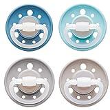 NIP Schnuller Cherry kirschfrmig: BPA-Frei, Gre 1, 0-6 Monate, Latex, Blau/Grau/Trkis/Braun Erdig, 4 Stck
