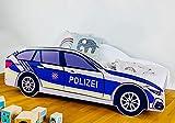 Autobett 70x140 cm Spielbett Kinderbett mit Rausfallschutz und Lattenrost 140 x 70 Bett Kinder Polizei Auto Wagen