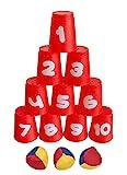 Dosenwerfspiel mit 10 Bechern und 3 Bällen (Idena)