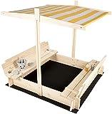 needs&wants Sandkasten mit Abdeckung Dach Deckel Sitzbank und Boden, Sandkiste Holz quadratisch verschließbar UV-Sonnenschutz mit Bank Outdoor Garten für Kinder, 120x120 cm, Kiefer, gelb weiß braun