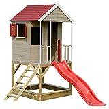 Wendi Toys M7 Spielturm mit Rutsche | Multifunktionales Holzhaus Kinder | Einfach zu montieren und zu reinigen | Gartenhaus Holz für Jungen und Mädchen 3-7 Jahre