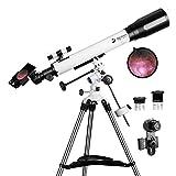 Teleskope für Erwachsene, 70 mm Öffnung und 700 mm Brennweite, professionelles Astronomie-Refraktor-Teleskop für Kinder und Anfänger, mit EQ-Halterung, 2 Plössl-Okularen und Smartphone-Adapter