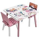 EUGAD 0006ETZY Kindersitzgruppe 1 Kindertisch und 2 Kinderstühle, 3tlg. Kindermöbel Sitzgarnitur für Kinder aus MDF Massivholz Rosa