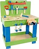 Farbenfrohe Kinder-Werkbank aus Holz mit Werkzeug etc. (Small Foot)