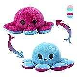 Octopus Plüschtier,Reversible Oktupus Stimmungs Kuscheltier,Oktopus Plüsch Wenden/Oktopus Zum Wenden Flip Plüsch Oktopus Spielzeu für Kinder Erwachsene als Geburtstagsgeschenk