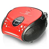 Lenco SCD24 - CD-Player fr Kinder - CD-Radio - Stereoanlage - Boombox - UKW Radiotuner - Titel Speicher - 2 x 1,5 W RMS-Leistung - Netz- und Batteriebetrieb - Rot