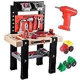 iBaseToy Werkbank Kinder, 91 Stück Werkzeugbank Kinder mit Werkzeug und Elektrische Bohrmaschine für Kleinkinder ab 3 Jahre