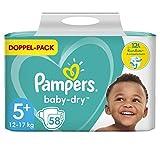 Pampers Baby-Dry Größe 5+, 58 Windeln, bis zu 12Stunden Rundum-Auslaufschutz, 12-17kg