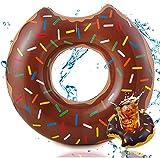 TK Gruppe Timo Klingler Aufblasbar Donut braun Ø 120 cm mit Biss Schwimmring Schwimmreifen Pool & Wasser, mit Getränkehalter für Erwachsene & Kinder (Brauner Donut)