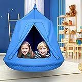 amzdeal Hängesessel für Kinder wasserdichte Schaukelnest-Schaukelhängematte mit aufblasbarem Kissen für Außen- und Innenbereiche für bis zu 100 kg (blau)