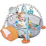 HIUME Baby Spieldecke mit Spielbogen,3 in 1 Krabbeldecke für Baby mit 4 Hängenden Spielzeugen und 30 Bällen, Spielmatte Baby Aktivität Matte & Bällebad, Spielzeug für Jungen & Mädchen (Fuchs)