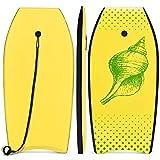COSTWAY Bodyboard, Schwimmbrett Schwimmboard, Surfbrett Kinder und Erwachsene, Surfboard, Sup-Board 104x51x6cm (Gelb und grn)