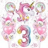Bluelves Einhorn Luftballon 3, Geburtstagsdeko 3 Jahr Mädchen, Einhorn Luftballons Folienballon, Riesen Folienballon 3 Rosa, Ballon 3 Geburtstag, Zahlenballon 3 Deko zum Geburtstag