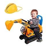 AYNEFY Bagger LKW Kinder Spielzeug Sitzbagger mit Sitz und Helm Robuster Aufsitzbagger Schaufelbagger Raupenbagger Sandbagger Fahrzeug Geschenk für Kinder Junge Mädchen, Gelb Schwarz