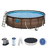 Bestway Power Steel Swim Vista 488x122 cm, Frame Pool rund mit stabilem Stahlrahmen im Komplett-Set, rattan