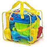 Strand-Spielzeug-Set mit Schufel, Rechen und Förmchen (Prextex)