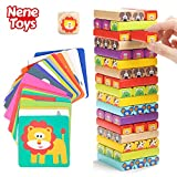 Nene Toys - Pädagogisches Kinderspiel ab 3 Jahre - Wackelturm 4 in 1 aus Holz mit Farben und Tieren - Spielzeug für Mädchen und Jungs von 3 bis 9 Jahren - Stapelturm Holz Brettspiel