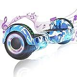 Hoverboard, 6,5' Selbstbalancierendes Scooter Hover Board mit Rädern Bluetooth Lautsprecher LED-Leuchten für Kinder Erwachsene (Blaue Tarnung)