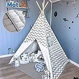Tipi-Spielzelt fürs Kinderzimmer in schicken Weiß-Grau-Tönen (Tiny Land)
