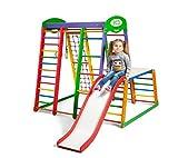 Kinder zu Hause aus Holz Spielplatz mit Rutschbahn ˝Akvarelka-Plus-1-1˝ Kletternetz Ringe Kletterwand !Zertifikat!