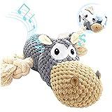 Sqinor Hundespielzeug Plüsch Quietschend Interaktives Stabiles Spielzeug für Große Kleine Hund und Welpen - Kuscheltier für Hunde (Nilpferd)