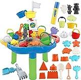 deAO Sand- und Wasser-Tischspielset für Outdoor-Aktivitäten für Kinder mit verschiedenem Zubehör