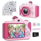 Kinderkamera - Digitalkamera Kinder mit 2,4 Zoll Großbildschirm 1080P HD 12MP Eingebaute 32GB SD-Karte USB Wiederaufladbare Selfie Kamera für 3-10 Jahre Alter Mädchen Geburtstag Kinder Spielzeug