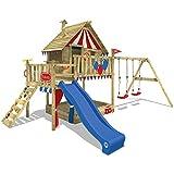 WICKEY Spielturm Klettergerüst Smart Trip mit Schaukel & blauer Rutsche, Stelzenhaus mit Sandkasten, Kletterleiter & Spiel-Zubehör